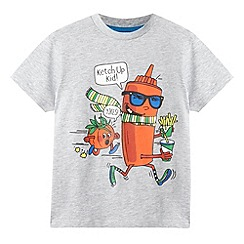 bluezoo - Boy's grey 'Ketch Up Kid' slogan t-shirt