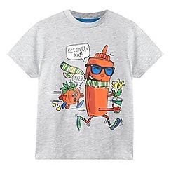 bluezoo - Boy's grey 'Ketch Up Kid' slogan t-shirt
