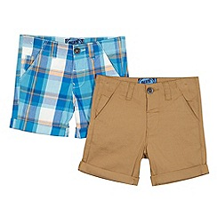 bluezoo - Pack of two boy's beige plain and blue checked shorts