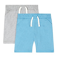 bluezoo - Pack of two boys grey drawstring jersey shorts