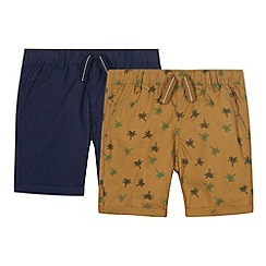 bluezoo - Pack of two boy's navy and khaki palm trees printed shorts
