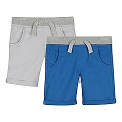 bluezoo - Boy's pack of two grey ribbed waist shorts