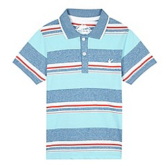 bluezoo - Boy's aqua block striped polo shirt