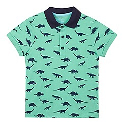 bluezoo - Boy's green short sleeved dinosaur polo shirt