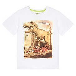 bluezoo - Boy's white dinosaur bus skates t-shirt