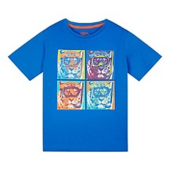 bluezoo - Boy's blue tiger heads t-shirt