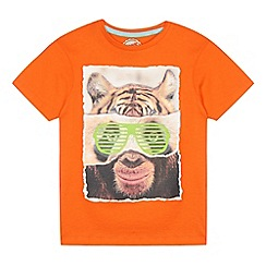 bluezoo - Boy's orange animal faces t-shirt
