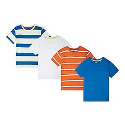 bluezoo - Pack of four boy's white, blue and orange plain and striped t-shirts