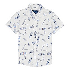 bluezoo - Boy's white skateboards printed shirt