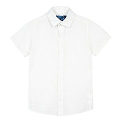 bluezoo - Boy's white plain linen blend shirt