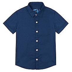 bluezoo - Boy's navy linen blend shirt