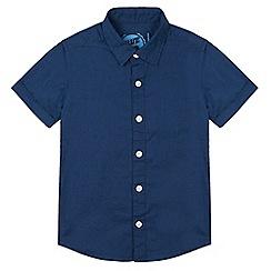bluezoo - Boy's navy linen blend shirt