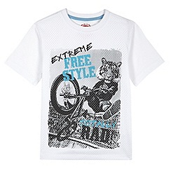 bluezoo - Boy's white tiger biker print mesh t-shirt