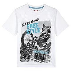 bluezoo - Boy's white tiger biker print mesh t-shirt