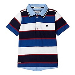 J by Jasper Conran - Designer boy's navy striped mock 2-in-1 polo shirt