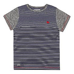 J by Jasper Conran - Designer boy's navy graduating stripe t-shirt