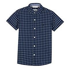 J by Jasper Conran - Designer boy's dark blue grid print shirt