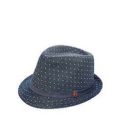 J by Jasper Conran - Designer boy's navy spotted chambray trilby hat