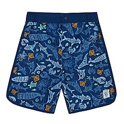 Mantaray - Boy's blue fish printed swim shorts