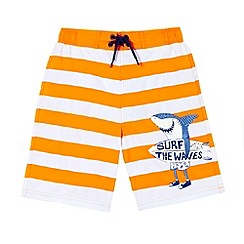 Mantaray - Boy's orange striped shark print swim shorts