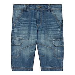 Mantaray - Boy's blue denim cargo shorts