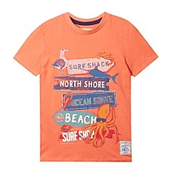 Mantaray - Boy's light orange signpost printed t-shirt