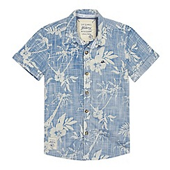 Mantaray - Boy's blue reverse hibiscus print shirt