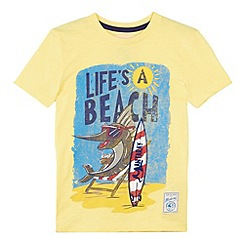 Mantaray - Boy's yellow 'Life's A Beach' t-shirt