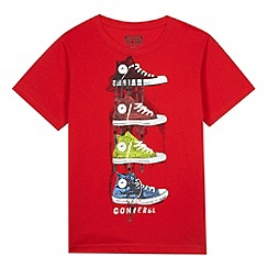 Converse - Boy's red multi trainer print t-shirt