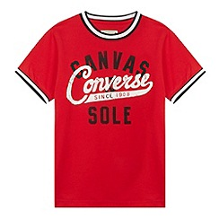 Converse - Boy's red 'Canvas Sole' baseball t-shirt
