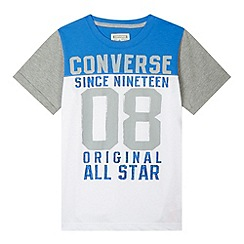 Converse - Boy's blue block panel t-shirt