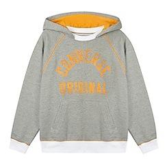 Converse - Boy's grey logo print pocket hoodie