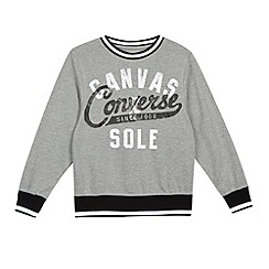 Converse - Boy's grey logo crew neck sweater