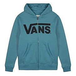 Vans - Boy's blue logo printed zip through hoodie