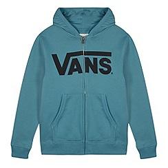 Vans - Boy's blue logo printed zip through hoodie