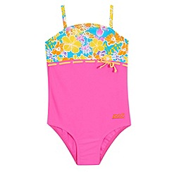 Zoggs - Girl's pink floral panel swimsuit