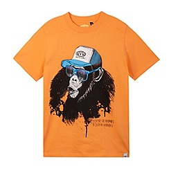 Animal - Boy's orange monkey print t-shirt