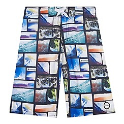 Animal - Boy's black photographic beach collage swim shorts