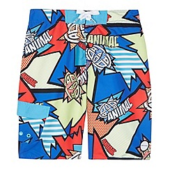 Animal - Boy's blue comic print swim shorts