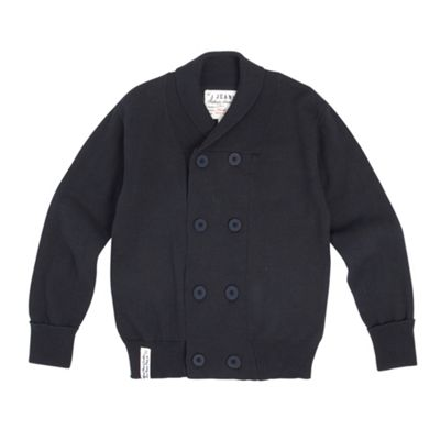 Boys Navy Double Breasted Cardigan