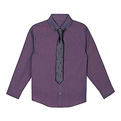 bluezoo - Boy's purple iridescent shirt and tie set