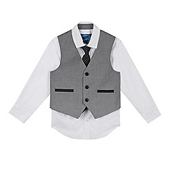 bluezoo - Boy's grey spotted waistcoat, shirt and tie set