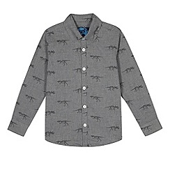 bluezoo - Boy's grey dinosaur printed shirt