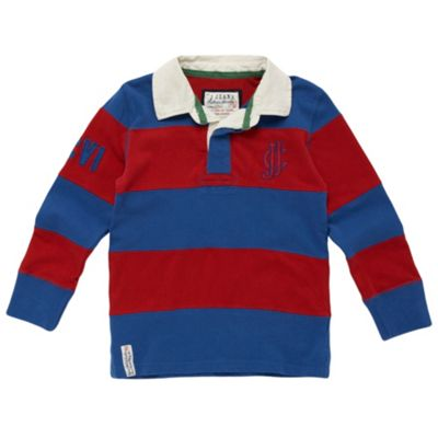 Boys Red And Blue Stripe Rugby Shirt