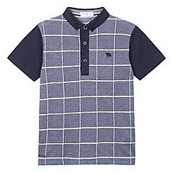 J by Jasper Conran - Designer boy's navy textured check polo shirt