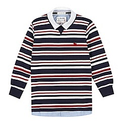 J by Jasper Conran - Designer boy's navy striped mock shirt