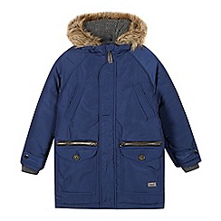 J by Jasper Conran - Designer boy's blue faux fur trimmed hood parka coat