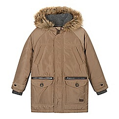 J by Jasper Conran - Designer boy's beige faux fur trimmed hood parka coat
