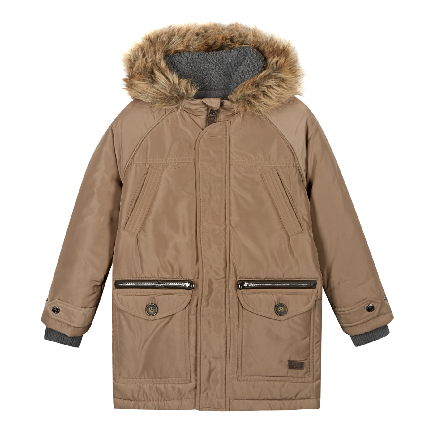 a9634827b J by Jasper Conran Designer boys beige faux fur trimmed hood parka coat