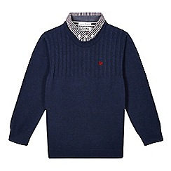 J by Jasper Conran - Designer boy's navy mock cable knit jumper